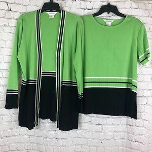 Misook 2 piece set -cardigan and short sleeve top
